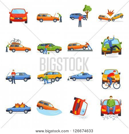 Auto accident involving car crash city street vector illustration.