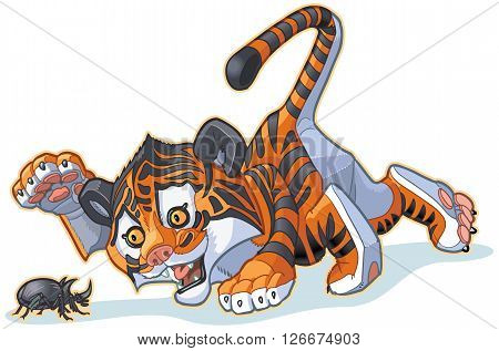 Vector Cartoon Clip Art Illustration of a Cute Tiger Cub Playing with a Rhinoceros Beetle.