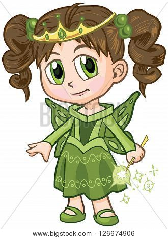 Vector clip art illustration of a brown haired girl wearing a fairy princess costume drawn in an anime or manga style. She is in a