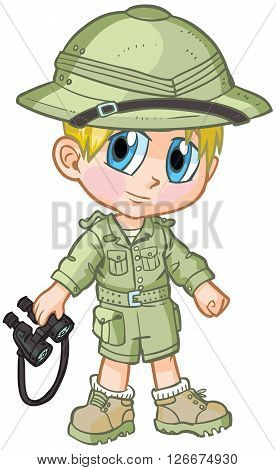 Vector cartoon clip art of a caucasian boy wearing a safari outfit drawn in an anime or manga style. He is in a