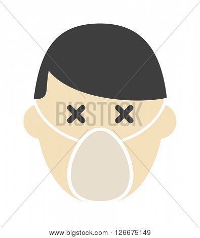 Breathing mask on face flat icon respirator protection pollution safety dust vector.