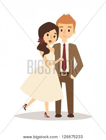 Happy bride and groom on wedding romance love couple vector.