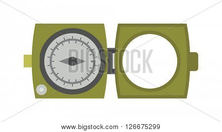 Vintage brass military army compass isolated geography east direction travel vector illustration.