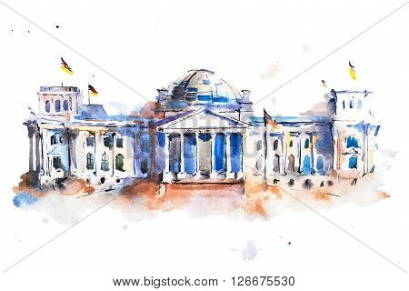 watercolor drawing of Reichstag building in Berlin.