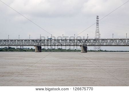 Khabarovsk, Russia - August 16, 2013: Bridge Across The Amur River.  Khabarovsk Bridge Is Depicted O