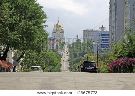 Khabarovsk, Russia - August 16, 2013: Street Leading To The Cathedral Of The Saviour's Transfigurati