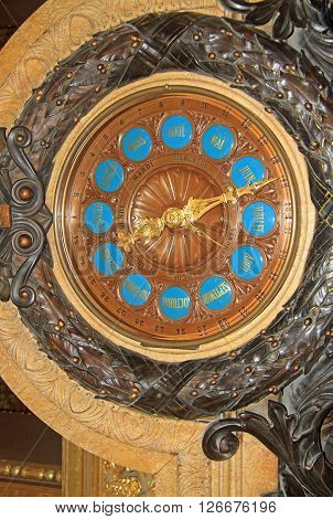 Paris, France - December 16, 2011: Clock Inside Of Opera National De Paris (grand Opera Or Garnier P
