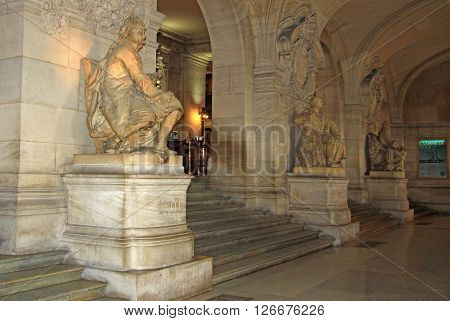 Paris, France - December 16, 2011: Statue Of Jean-baptiste Lully Inside Of Opera National De Paris (