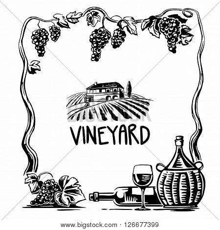 Rural landscape with villa and vineyard fields. Bunch of grapes, a bottle, a glass and a jug of wine. Black and white vintage vector square illustration for label, poster, web, icon