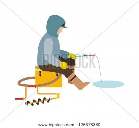 Fisherman enjoying days winter fishing on ice sport lake snow leisure vector illustration.