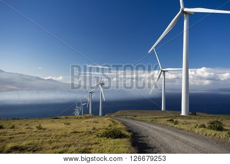 Wind turbines on the island of Maui, Hawaii, USA
