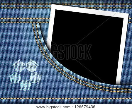Soccer Ball On Jeans And Blank Photo Frame In Blue Jeans Pocket