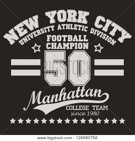 New York Manhattan football Sport wear typography emblem, t-shirt stamp graphics, vintage tee print, apparel design