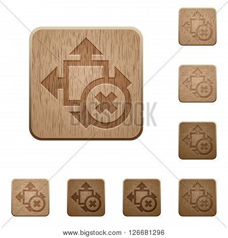 Set of carved wooden cancel size buttons in 8 variations.