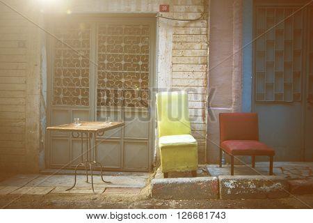Roadside Cafe Outdoors Sidewalk Urban Scene Concept