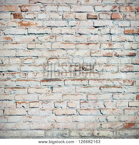Brick wall texture or background. Bricks painted white vignette.