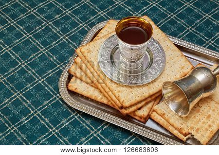 Pesach matzo passover with wine and matzoh jewish passover bread
