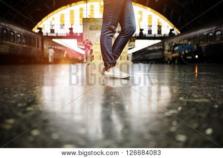 Train Waiting Arrival Departure Railway Station Concept