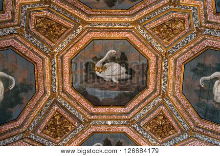 SINTRA PORTUGAL - FEBRUARY 03 2016: Ceiling decoration at the National Palace Sintra Portugal.