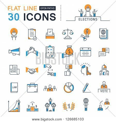 Set vector line icons in flat design voting and elections. Collection politics symbol with elements for mobile concepts and web apps. Collection modern infographic logo and pictogram.