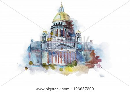 Hand painted drawing of Saint Isaac's Cathedral in St. Petersburg. Traditional Russian landmark, religious orthodox symbol.