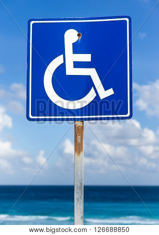 Blue Handicapped Sign With Wheelchair, Outdoors