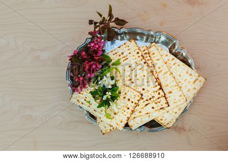 Matzo passover with wine and matzoh jewish passover bread Pesach Still-life with wine and matzoh