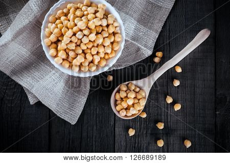 Chickpeas In Bowl, Top View
