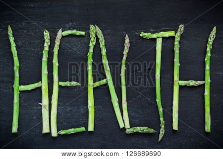 Word Health Made Of Asparagus Vegetables
