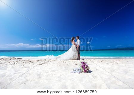 Wedding Orchids Bouquet On Beach
