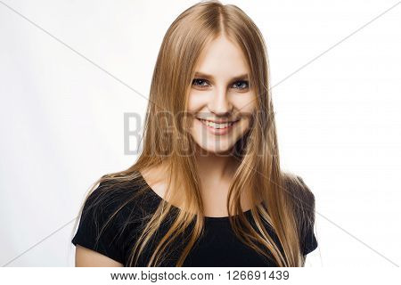 Happy busines woman smile on white background