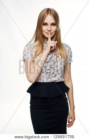 Busines woman working in job on white background