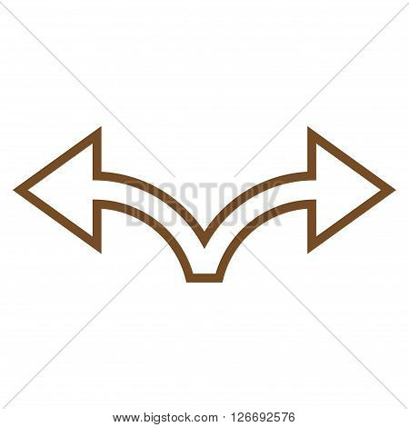 Bifurcation Arrow Left Right vector icon. Style is contour icon symbol, brown color, white background.