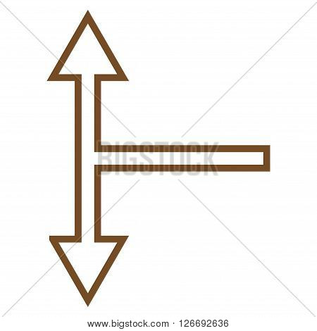 Bifurcation Arrow Up Down vector icon. Style is contour icon symbol, brown color, white background.