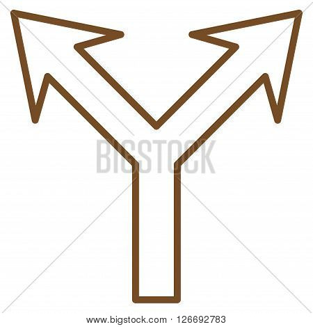 Bifurcation Arrow Up vector icon. Style is thin line icon symbol, brown color, white background.