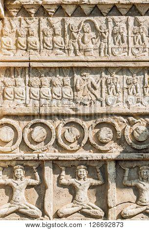 External sculpted facade of a Hindu temple.