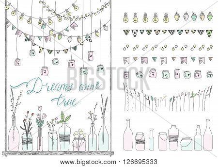 Set of hand drawn borders,garlands, jars, bottles with flowers. Chalkboard background. Doodle lamps, lanterns,flags, ornament, jars, bottles on swing. Plants, flowers, leaves.Used brushes included.
