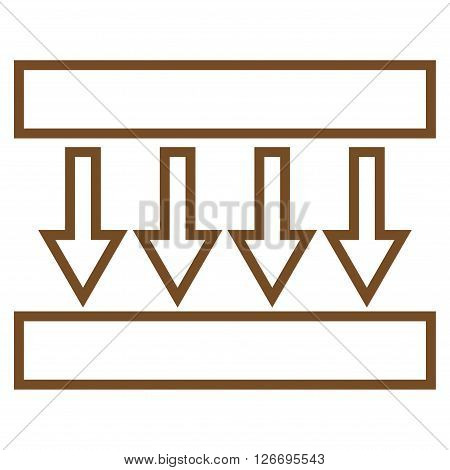 Pressure Vertical vector icon. Style is stroke icon symbol, brown color, white background.