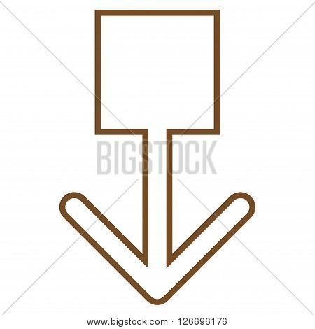 Pull Down vector icon. Style is outline icon symbol, brown color, white background.