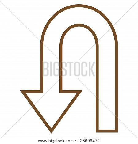 Return Arrow vector icon. Style is contour icon symbol, brown color, white background.