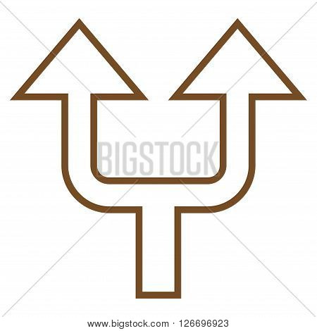 Split Arrow Up vector icon. Style is contour icon symbol, brown color, white background.