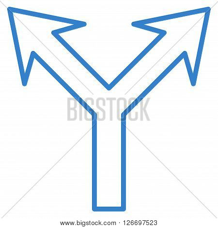 Bifurcation Arrow Up vector icon. Style is stroke icon symbol, cobalt color, white background.