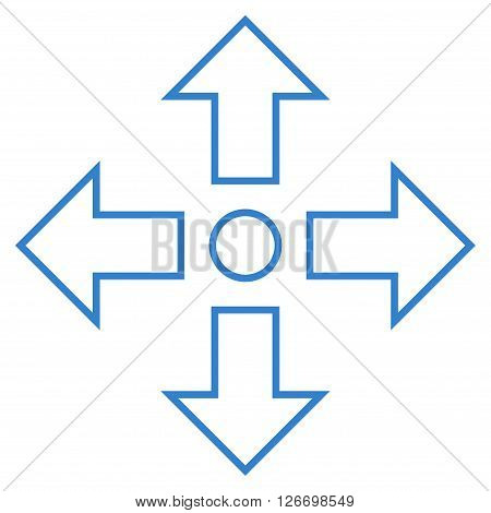 Maximize Arrows vector icon. Style is outline icon symbol, cobalt color, white background.