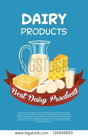 Dairy products poster template, bitmap illustration. Milk products