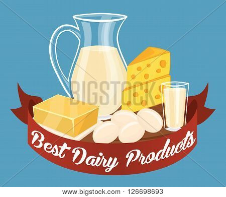 Dairy products isolated set, bitmap illustration. Milk products composition.