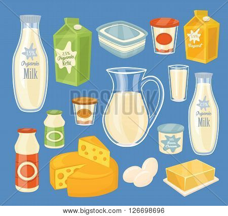 Dairy products isolated, bitmap illustration. Milk product icons collection. Healthy food. Organic food. Farmers product.