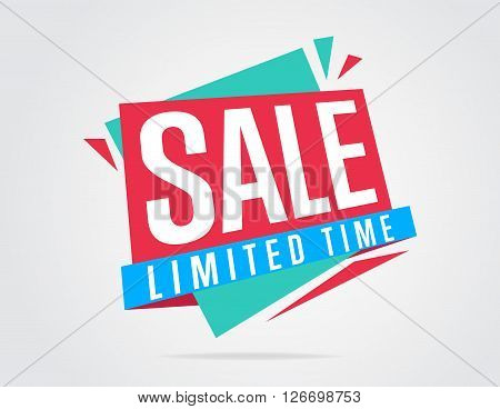 Sale banner bitmap isolated. Sale tag. Special offer. Limited tima sticker. Colorful illustration. Bitmap banner.