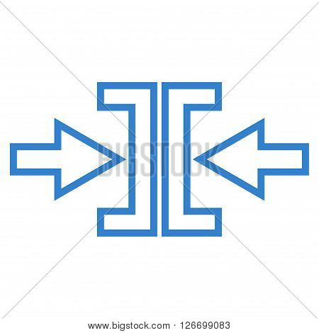 Pressure Arrows Horizontal vector icon. Style is stroke icon symbol, cobalt color, white background.