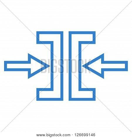 Pressure Horizontal vector icon. Style is outline icon symbol, cobalt color, white background.