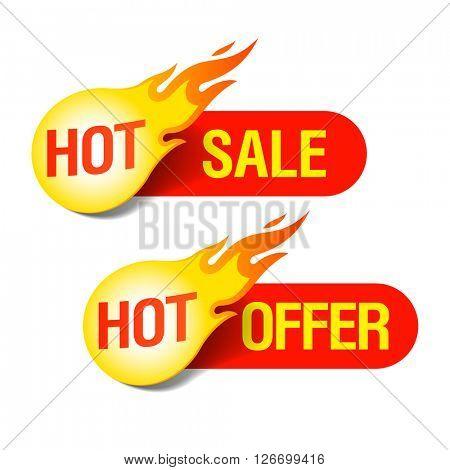 Hot Sale and Hot Offer labels vector illustration